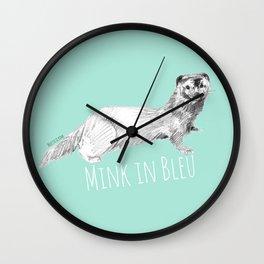 Mink in Bleu Wall Clock