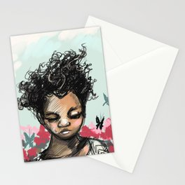 Girl with Butterfles Stationery Cards