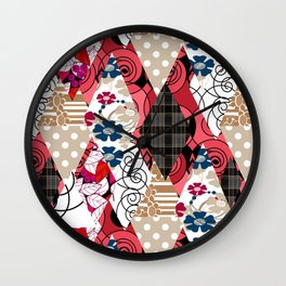 Colorful national patchwork of 12 Wall Clock