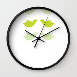 green love birds Wall Clock