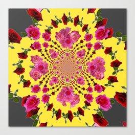 modern art cerise pink & yellow Canvas Print