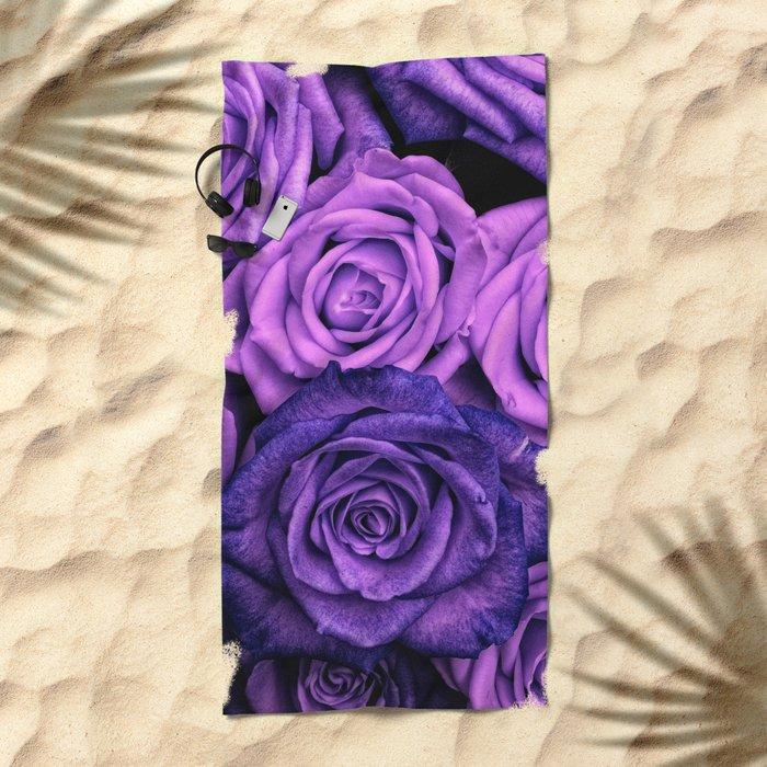 Purple Roses Beach Towel