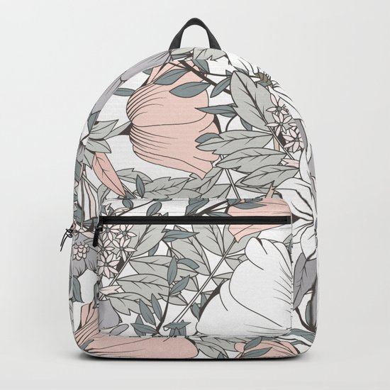 Gray and Pink Floral Pattern Backpack