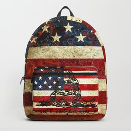 Don't Tread on Me - American Flag And Gadsden Flag Composition Backpack