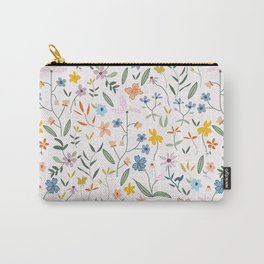 Vintage Inspired Wildflower Print Light Carry-All Pouch
