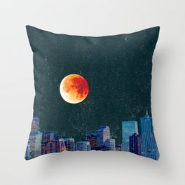 Blood Moon over Denver Colorado Skyline Throw Pillow
