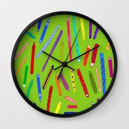 Fun loving crayons Wall Clock