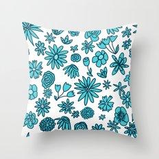 Blue Flowers on White Throw Pillow