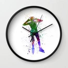 Woman in roller skates 04 in watercolor Wall Clock
