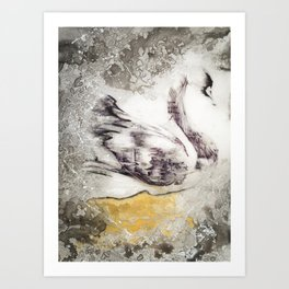 The Swan's Distraction Art Print