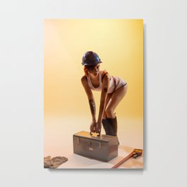 """""""Handywoman"""" - The Playful Pinup - Hard Hat Construction Pin-up Girl by Maxwell H. Johnson Metal Print"""