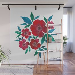Red Flowers watercolor Wall Mural