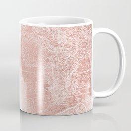 Antique World Map White Rose Gold Coffee Mug