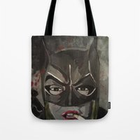 gotham Tote Bags featuring Gotham Vixen by Paintings That Pop