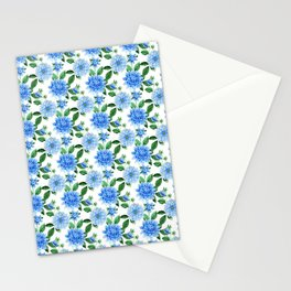 Elegant blush blue green watercolor peonies floral pattern Stationery Cards