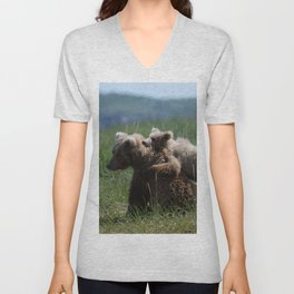 Alaska Grizzly Mother And A Cub In Katmai National Park #Society6 Unisex V-Neck