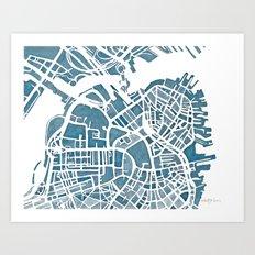 Boston Blueprint Art Print