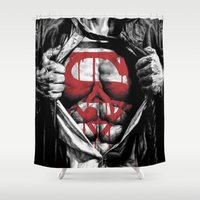 daenerys Shower Curtains featuring Superman Blood Logo by Veylow