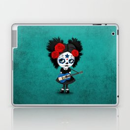 Day of the Dead Girl Playing Salvadorian Flag Guitar Laptop & iPad Skin