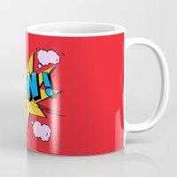 superheroes Mugs featuring superheroes by mark ashkenazi