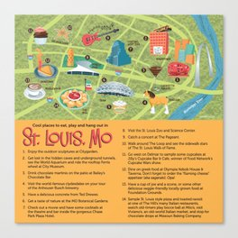 Square Map of St. Louis Canvas Print