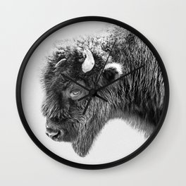 Animal Photography | Bison Portrait | Black and White | Minimalism Wall Clock