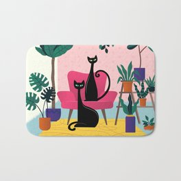 Sleek Black Cats Rule In This Urban Jungle Bath Mat