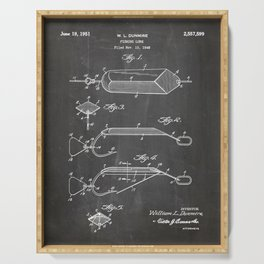 Fishing Lure Patent - Fisherman Art - Black Chalkboard Serving Tray