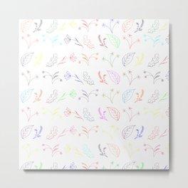 Crayon Flowers Drawing on White Metal Print