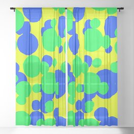 bright bold blue and green dots on the yellow background design Sheer Curtain