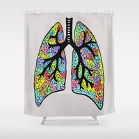 lungs Shower Curtains featuring Psychedelic Lungs  by Cash Blake