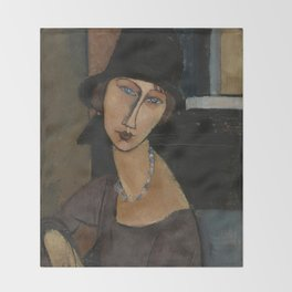 Modigliani - Jeanne Hebuterne With Hat And Necklace Throw Blanket