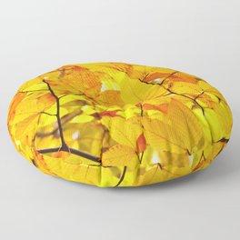 Indian Summer - Yellow Autumn Fall Leaves Floor Pillow