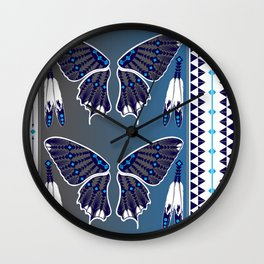 Butterfly Nation Blue Wall Clock