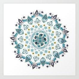 Light blue bohemian mandala Art Print