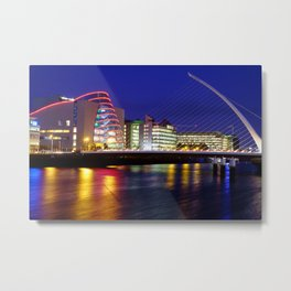 The Convention Centre Dublin, Samuel Beckett Bridge and the River Liffey at dusk in Dublin, Ireland. Metal Print