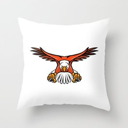 Bald Eagle Swooping Front Mascot Throw Pillow