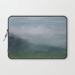 Gray Blue Navy Indigo Grass Green Abstract Painting Wall Art Prints, Nature Horizon, Modern Wall Art Laptop Sleeve