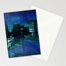 Girl In Skirt Watching Over Wonderful Starry Urban Skyline At Night Cartoon Scenery Ultra Resolution Stationery Cards