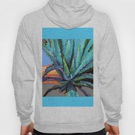 BLUE MODERN ART AQUA DESERT AGAVE CACTUS Hoody