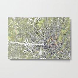 Munich city map engraving Metal Print