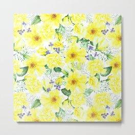 watercolor pattern yellow roses Metal Print