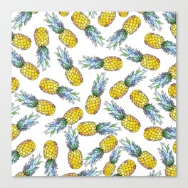 Tropical Green Teal Yellow Watercolor Pineapple Pattern Canvas Print