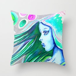 The blue haired girl Throw Pillow