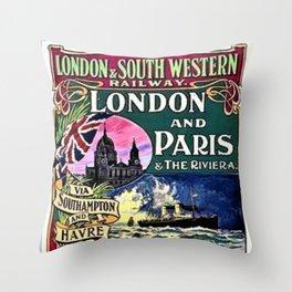 London & Southwest Railway to Paris Vintage Advertisement Throw Pillow