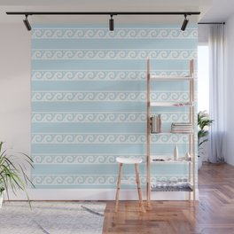 Pale Blue and white Greek wave ornament pattern Wall Mural