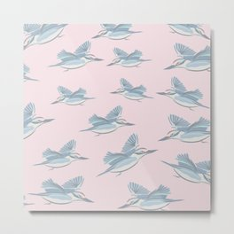 Flying Birds, Cameo Pink Metal Print