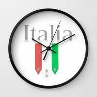 world cup Wall Clocks featuring Italia World Cup Logo by Bunhugger Design