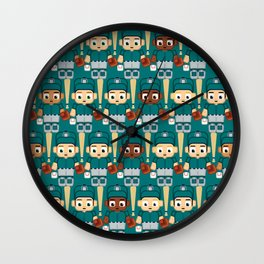 Baseball Teal and Grey - Super cute sports stars Wall Clock