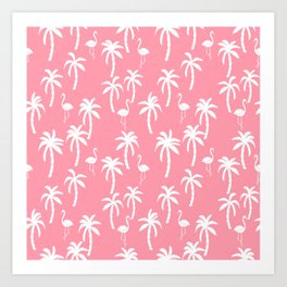 Tropical flamingo and palm trees pattern by andrea lauren cute illustration summer patterns pink Art Print